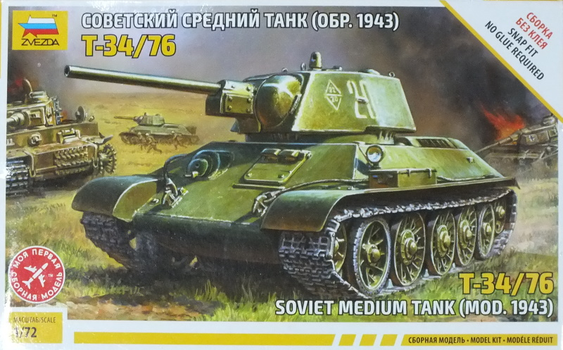 Zvesda 1/72 Soviet Medium Tank T-34/76 Model 1943 (5001) In-Box Review and History